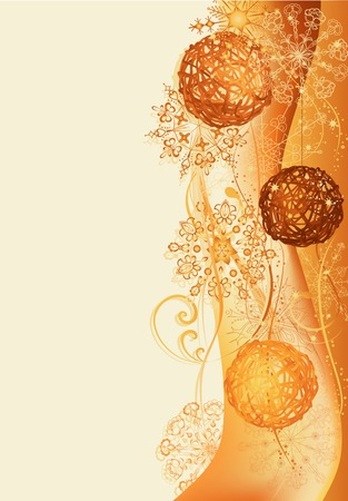 Gold and brown christmas background with braided balls.