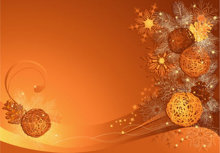 Gold and brown christmas background with braided balls and snowflakes. Vector