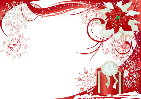 poinsettia: Christmas background with red frame.