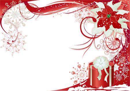 flor de pascua: Fondo de Navidad con marco rojo.