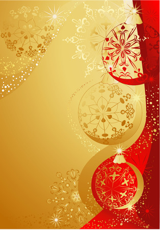Christmas red and gold background with balls and snowflakes. Vector