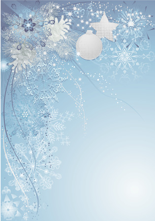 Blue christmas background with baubles, pine cones and snowflakes.