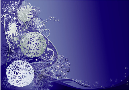 Blue christmas background with braided balls, pine cones and snowflakes. Vector