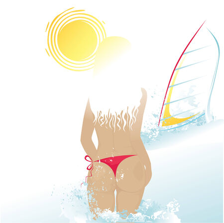 windsurf: Summer beach background with girl and windsurf. Illustration