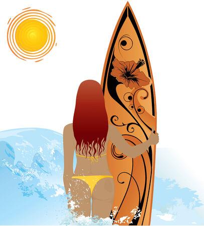 chica surf: Joven de surf en la playa - fondo de verano.  Vectores
