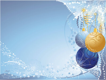 Christmas background with blue and gold baubles. Vector
