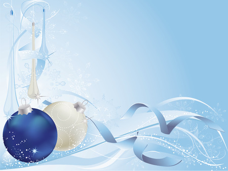 Blue and silver christmas background with baubles. Vector