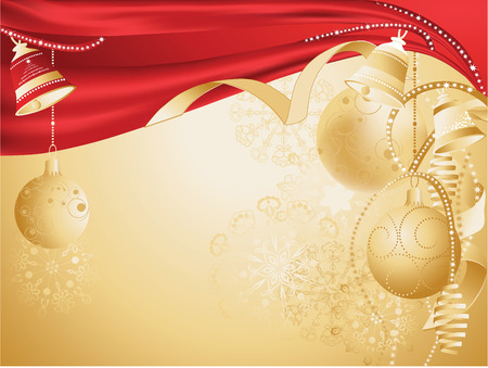 gold christmas background: Gold christmas background with baubles.