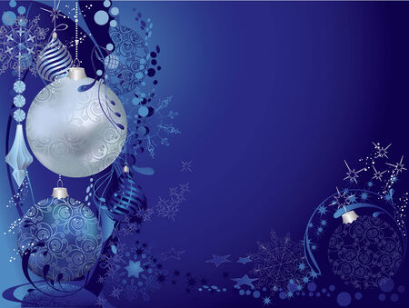 Christmas blue background with baubles. Vector