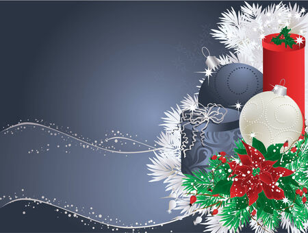 Blue christmas background with bauble, gifts and poinsettia. Vector