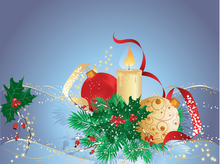 Blue christmas background with bauble, candle and winter branches. Stock Vector - 8202695