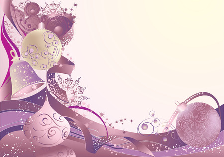 Christmas abstract background with baubles and bell. Vector