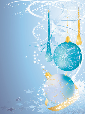 Blue christmas background with baubles.