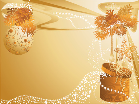 Gold christmas background with baubles and gift.