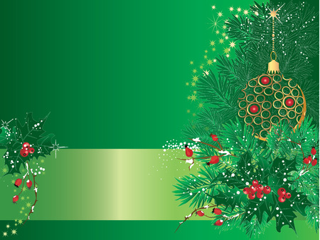 Green christmas background with bauble and pine branches.