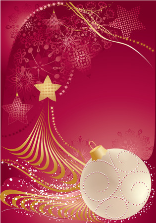 Red christmas background with christmas tree and bauble.