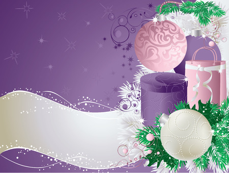 Christmas abstract background with baubles and presents.