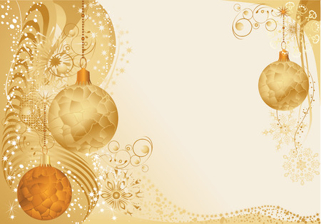Gold christmas background with baubles.