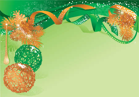 Green christmas background with bauble and pine cones.