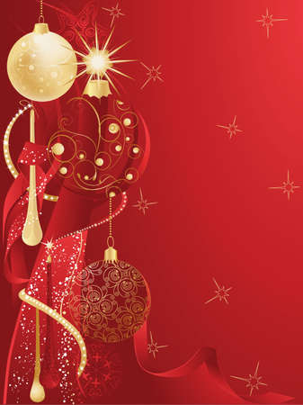 Red christmas background with baubles.