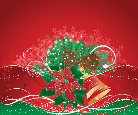Red christmas background with pine branches and bell.