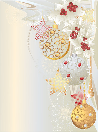 Silver christmas background with baubles and stars