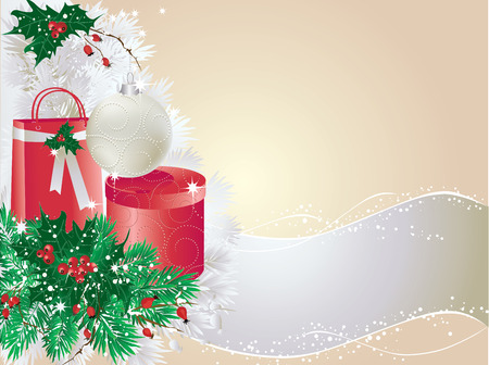 Silver christmas background with baubles and presents.