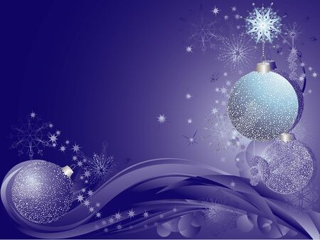 Blue christmas background with baubles snowflakes and stars