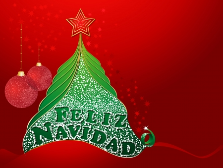 Red christmas card with tree and with Merry Christmas in Spanish- Feliz Navidad  Illustration