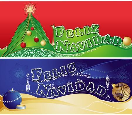 feliz: Christmas horizontal banners with  Merry Christmas in Spanish
