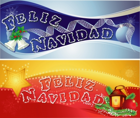 Christmas horizontal banners with  Merry Christmas in Spanish