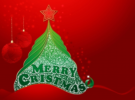 Red christmas card with tree and merry christmas text
