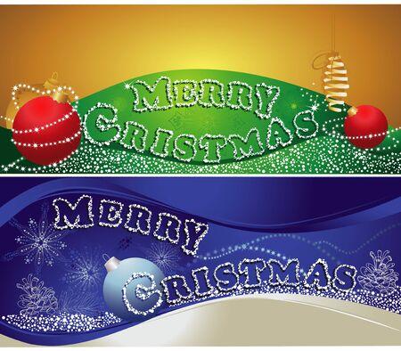 Christmas horizontal banners with merry christmas text