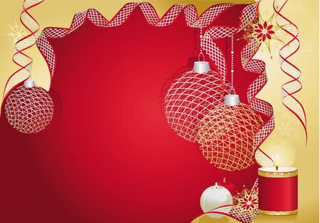Red christmas card with baubles and candles