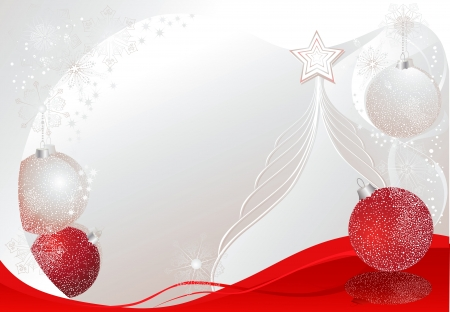 Silver and red christmas background with tree and baubles