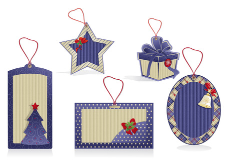 Set of Christmas blue labels from kraft recycled paper