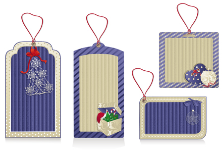 Christmas blue labels from kraft recycled paper   Illustration