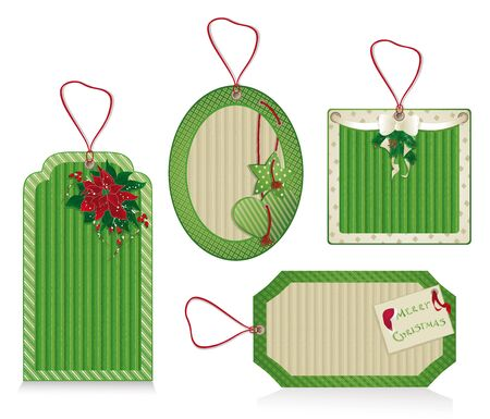 Set of Christmas green labels from kraft recycled paper