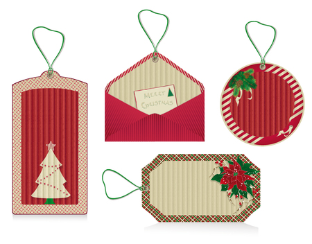 A set of Christmas red labels from kraft recycled paper