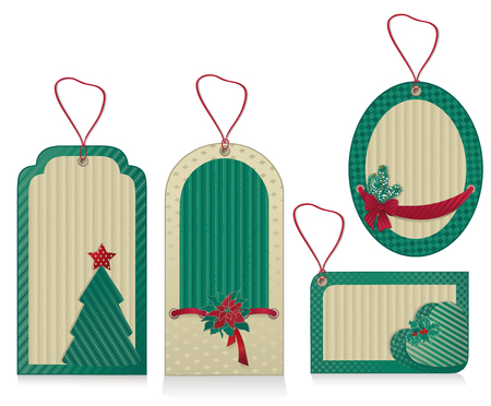 Christmas green labels from kraft recycled paper
