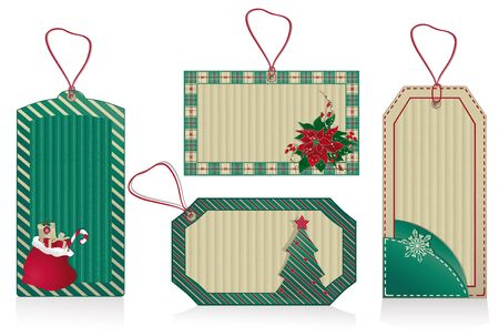 Set of Christmas green labels from recycled paper  Illustration