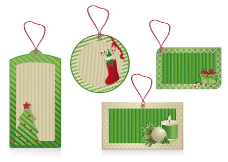 Set of Christmas  labels from kraft recycled paper