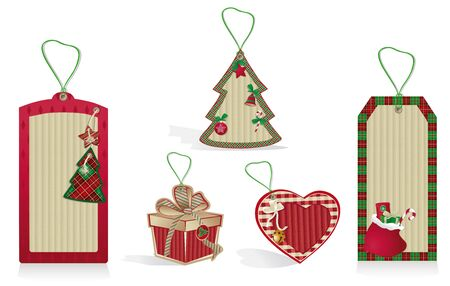 A set of Christmas red labels from recycled paper