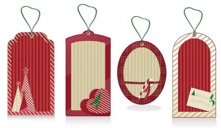 Christmas red labels from kraft recycled paper  Illustration