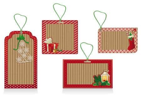 A set of Christmas labels from kraft recycled paper