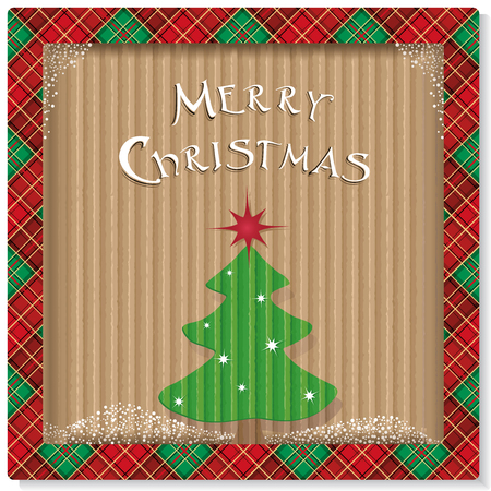 Christmas background with tree on recycled kraft paper