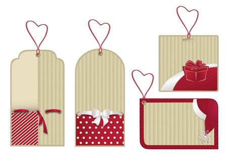 Christmas isolated red labels from recycled paper