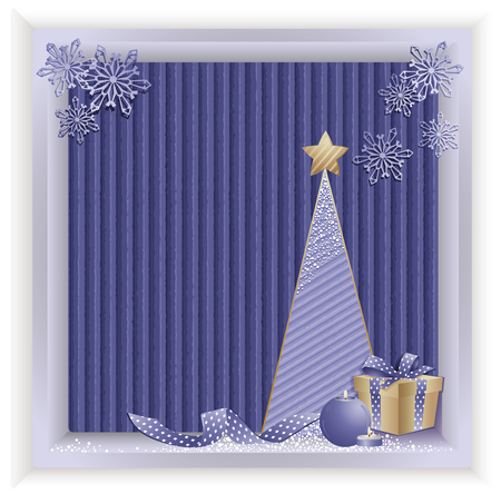 Christmas blue background with tree on recycled kraft paper