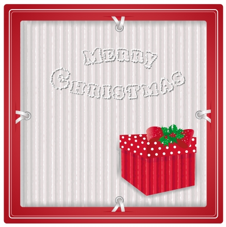 Christmas background with gift on recycled kraft paper