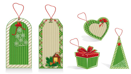 Christmas green labels from kraft recycled paper  Vector
